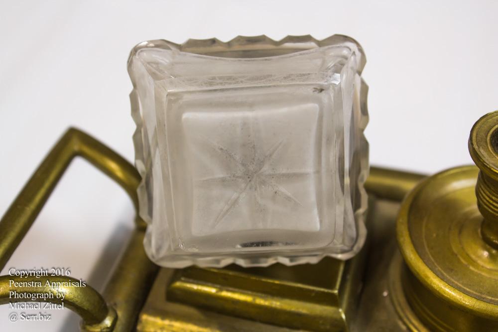 American inkwell circa 1920 cut glass